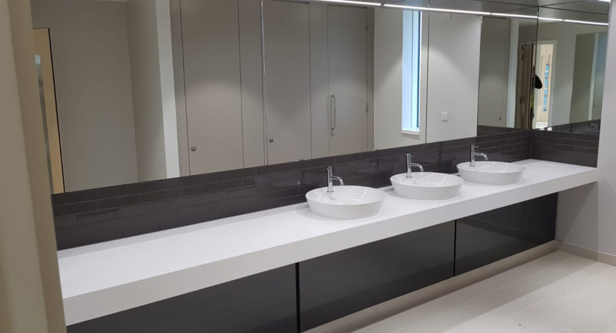 Stevens Washrooms - Commercial Washroom Installations - Vanity Units and Troughs